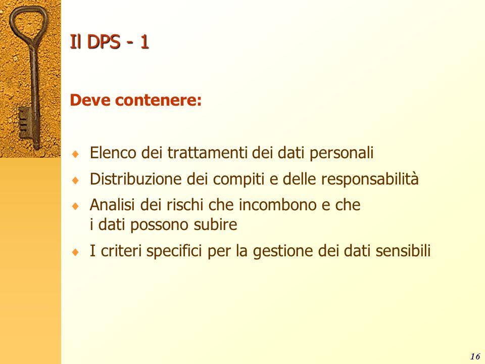 Il DPS - 1 Deve contenere: Elenco dei trattamenti dei dati personali
