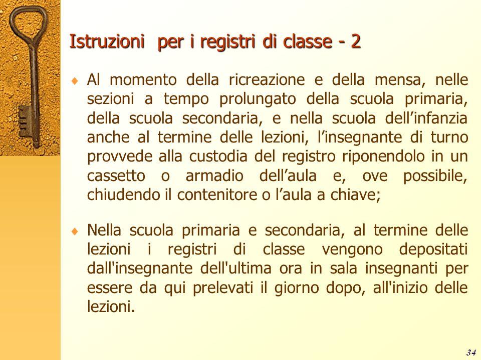 Istruzioni per i registri di classe - 2