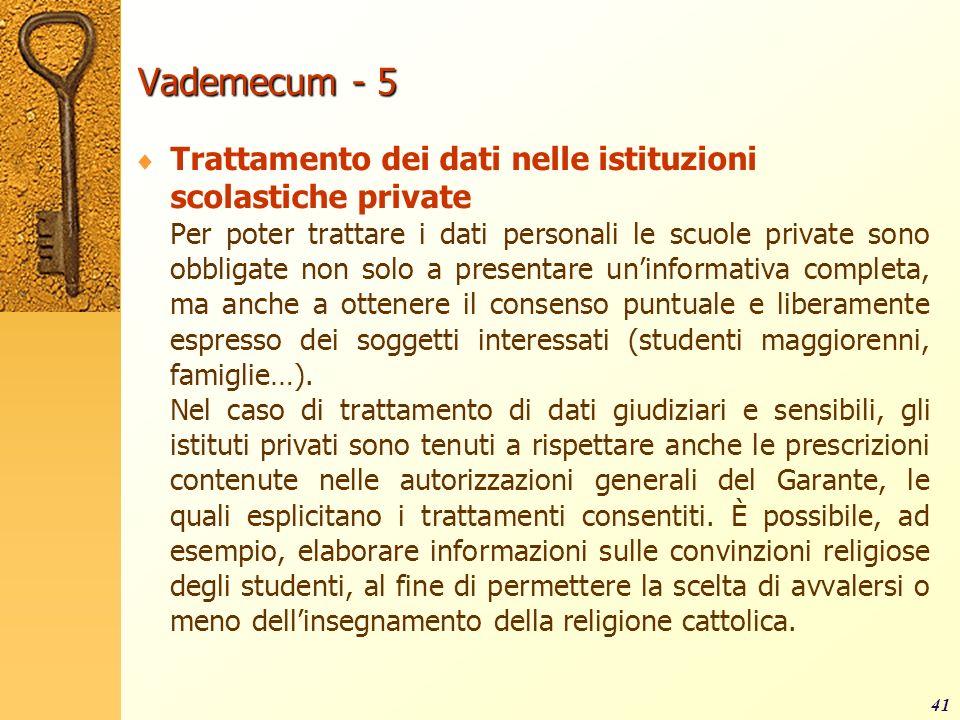 Vademecum - 5 Trattamento dei dati nelle istituzioni scolastiche private.