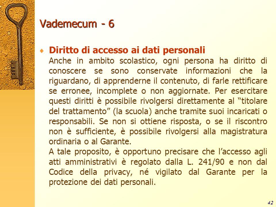 Vademecum - 6 Diritto di accesso ai dati personali