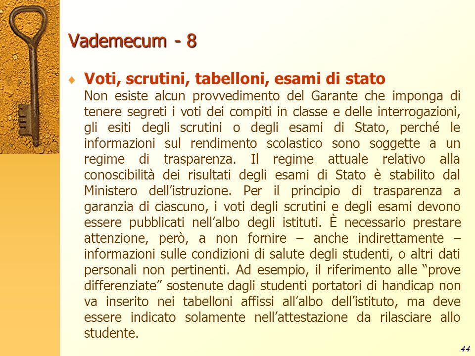 Vademecum - 8 Voti, scrutini, tabelloni, esami di stato