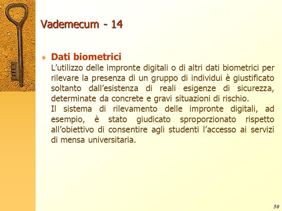 Vademecum - 14 Dati biometrici