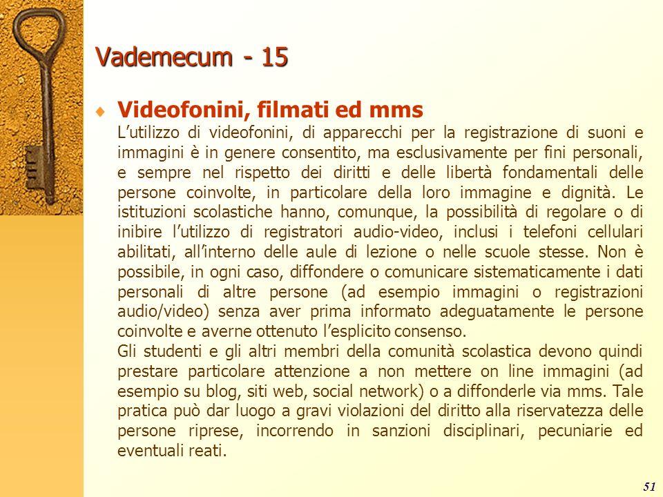 Vademecum - 15 Videofonini, filmati ed mms