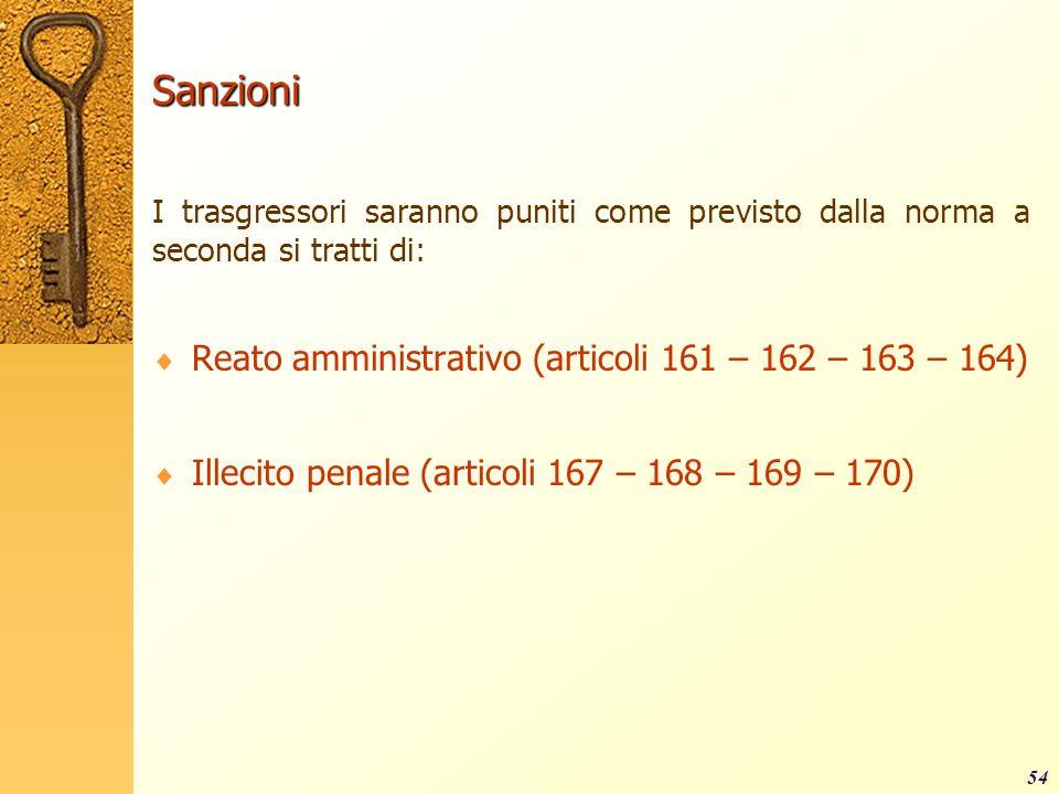Sanzioni Reato amministrativo (articoli 161 – 162 – 163 – 164)