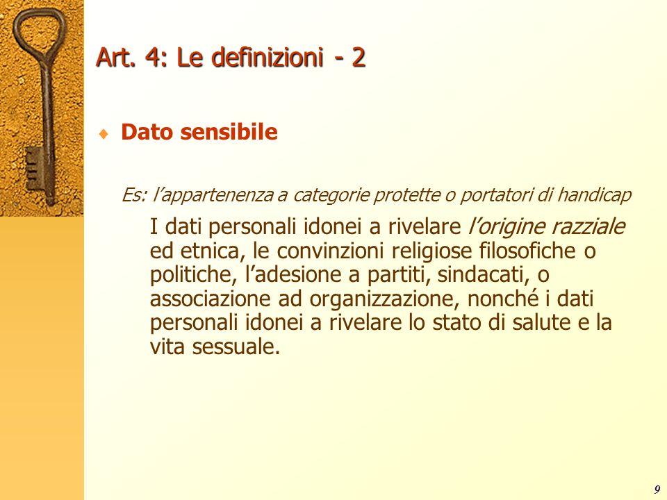 Art. 4: Le definizioni - 2 Dato sensibile