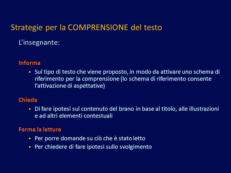 Strategie per la COMPRENSIONE del testo