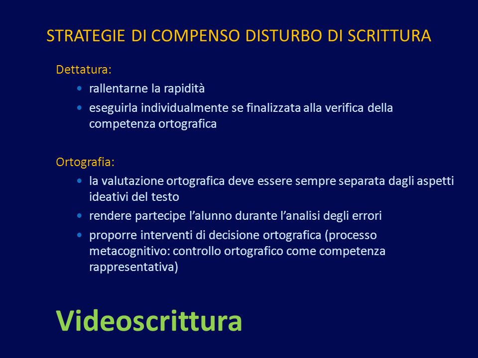 STRATEGIE DI COMPENSO DISTURBO DI SCRITTURA