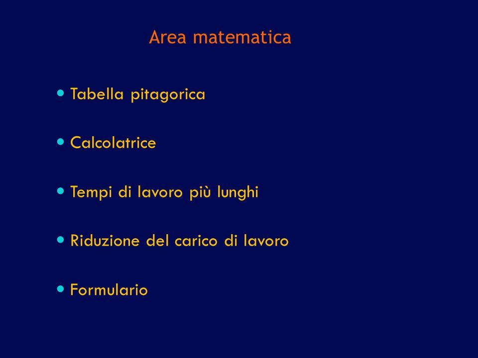 Area matematica Tabella pitagorica. Calcolatrice. Tempi di lavoro più lunghi. Riduzione del carico di lavoro.