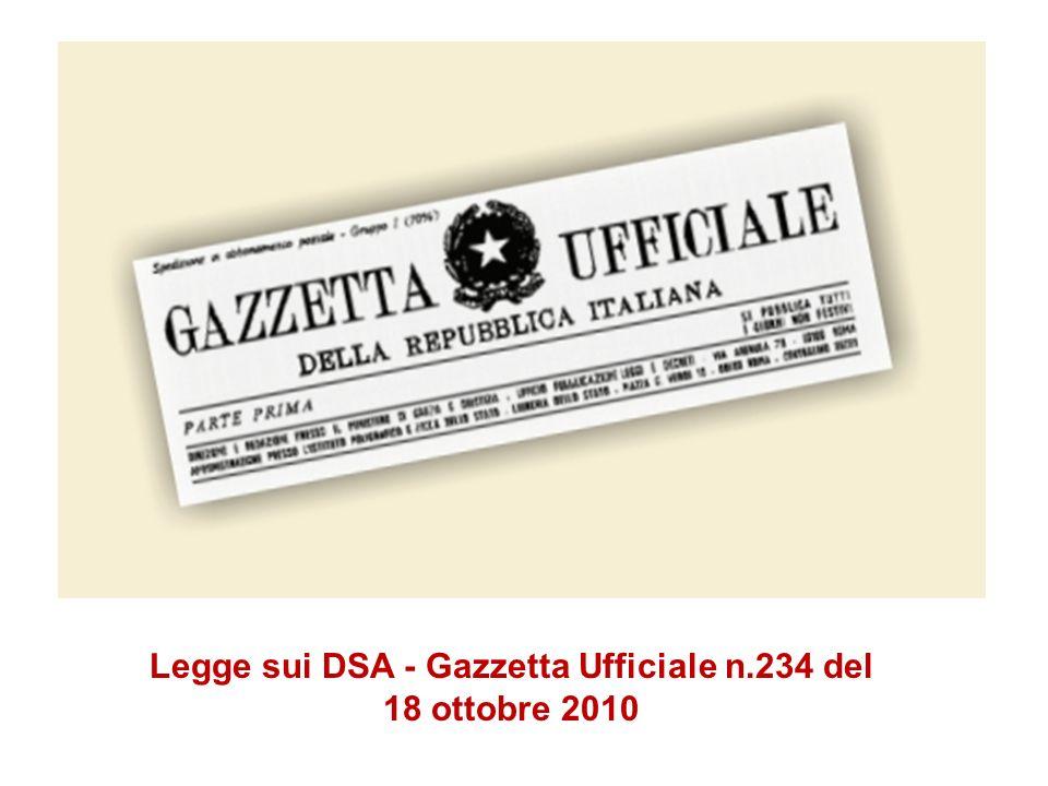 Legge sui DSA - Gazzetta Ufficiale n.234 del 18 ottobre 2010