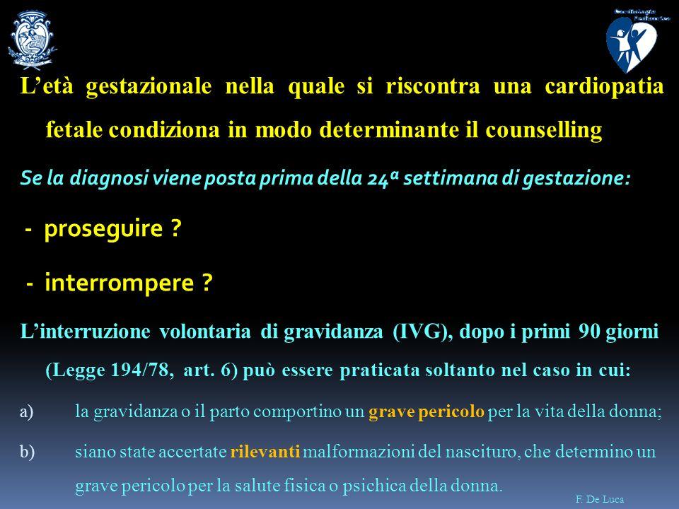 L'età gestazionale nella quale si riscontra una cardiopatia fetale condiziona in modo determinante il counselling