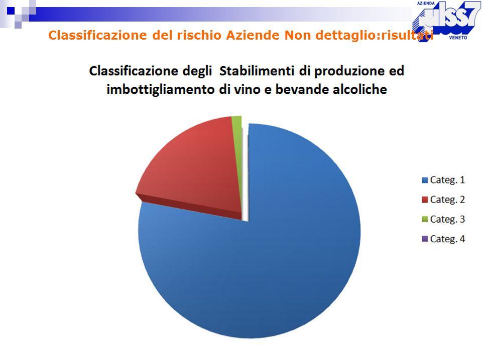 Classificazione del rischio Aziende Non dettaglio:risultati