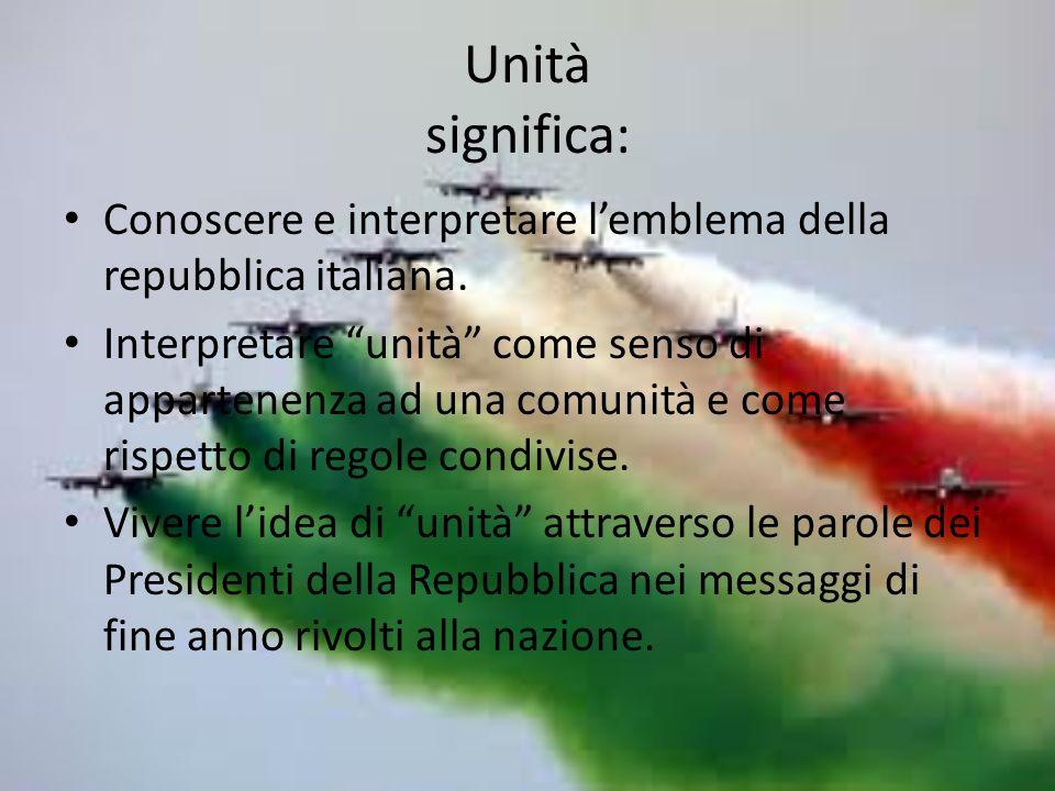 Unità significa: Conoscere e interpretare l'emblema della repubblica italiana.