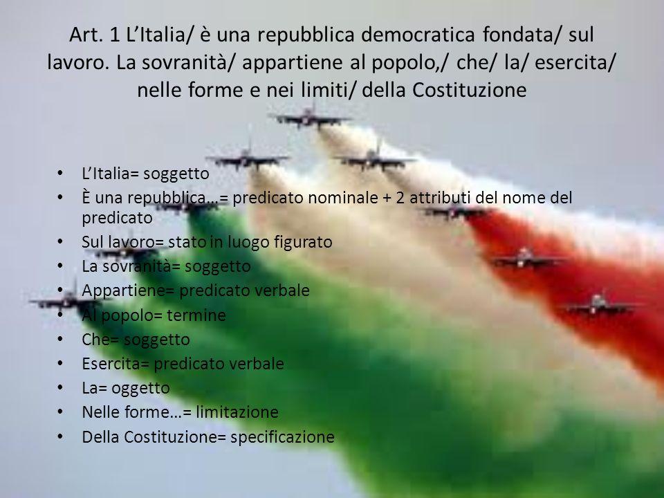 Art. 1 L'Italia/ è una repubblica democratica fondata/ sul lavoro