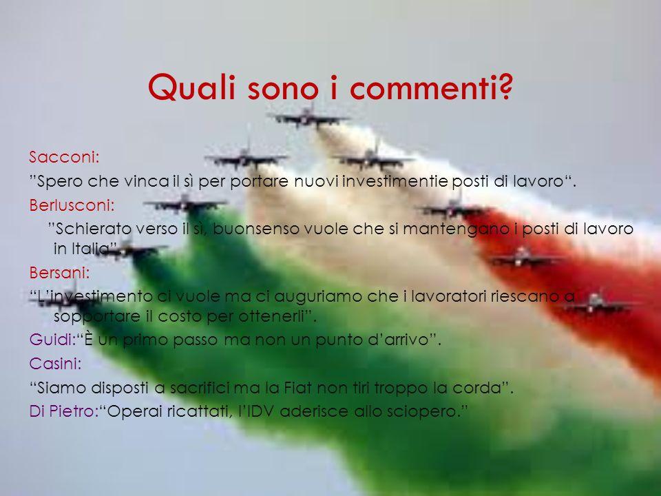 Quali sono i commenti Sacconi: