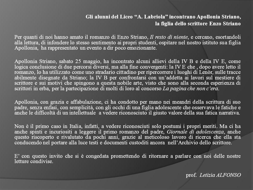 Gli alunni del Liceo A. Labriola incontrano Apollonia Striano,