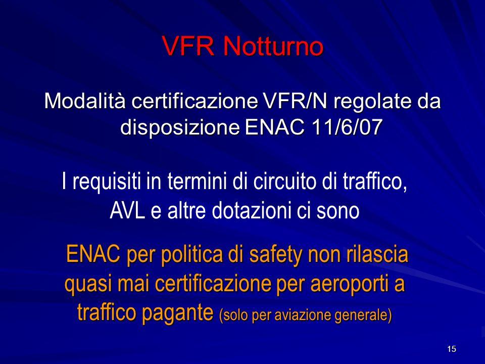 Modalità certificazione VFR/N regolate da disposizione ENAC 11/6/07