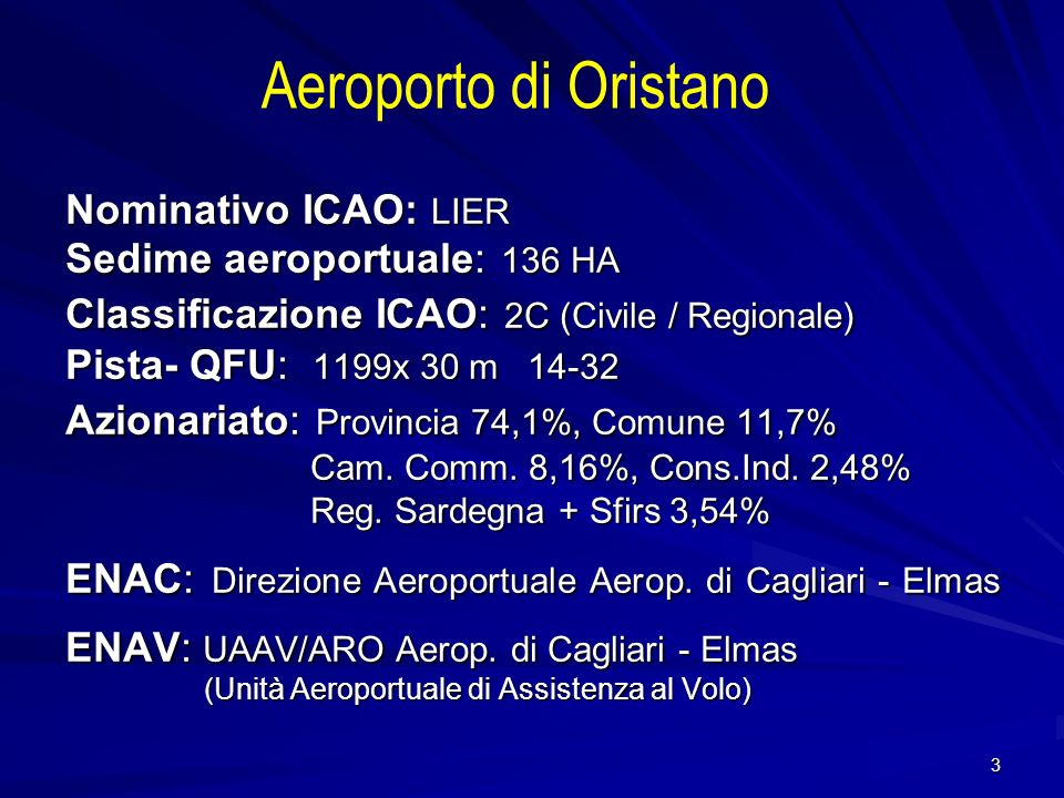 Aeroporto di Oristano Nominativo ICAO: LIER