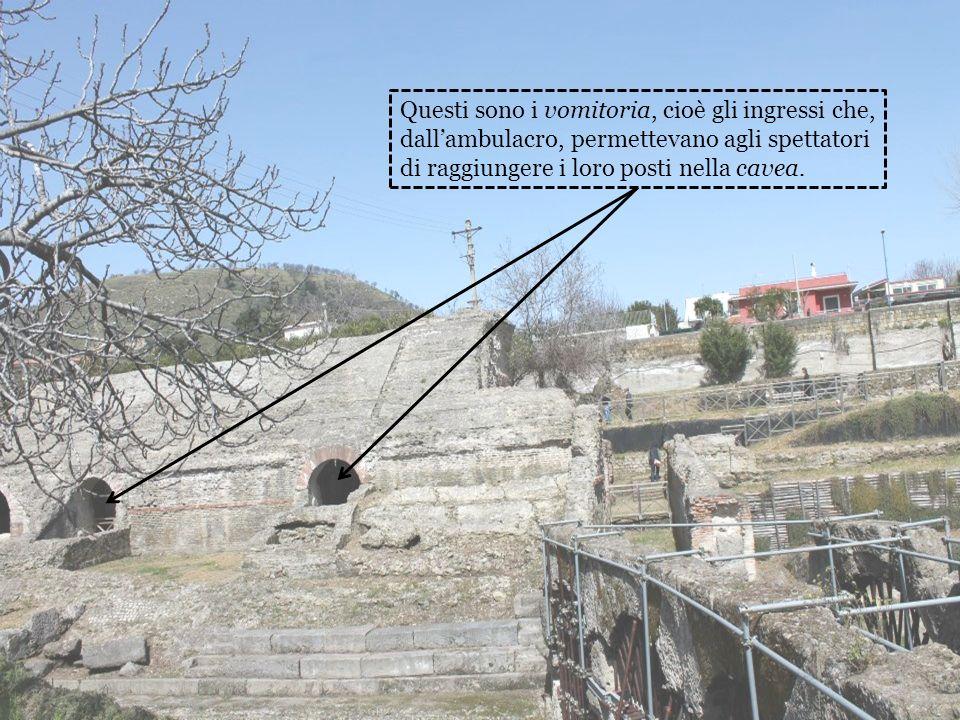 Questi sono i vomitoria, cioè gli ingressi che, dall'ambulacro, permettevano agli spettatori di raggiungere i loro posti nella cavea.