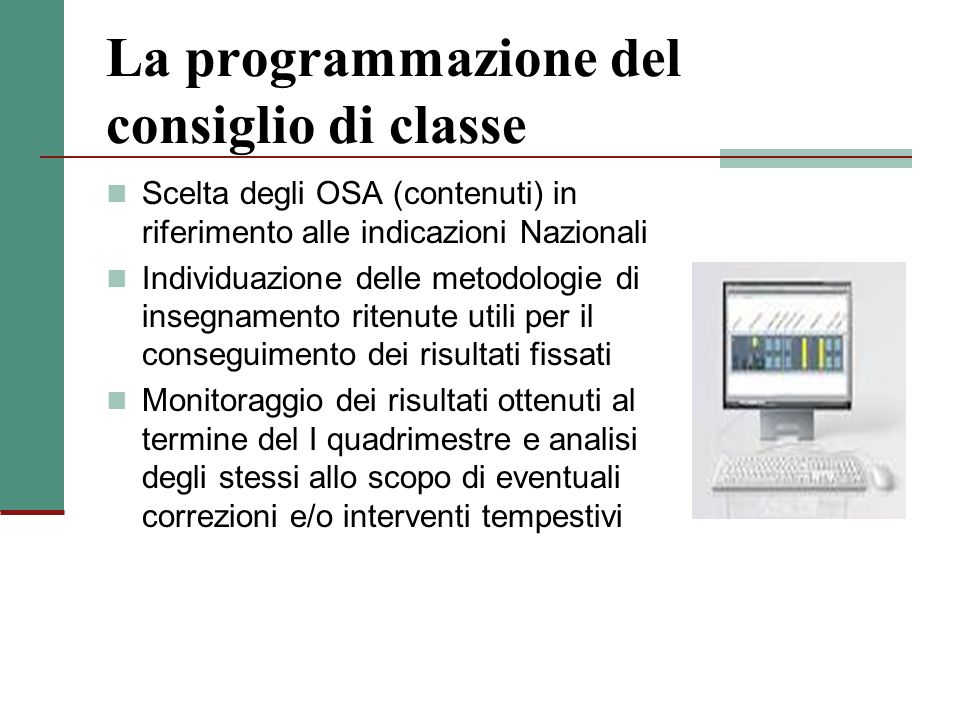 La programmazione del consiglio di classe