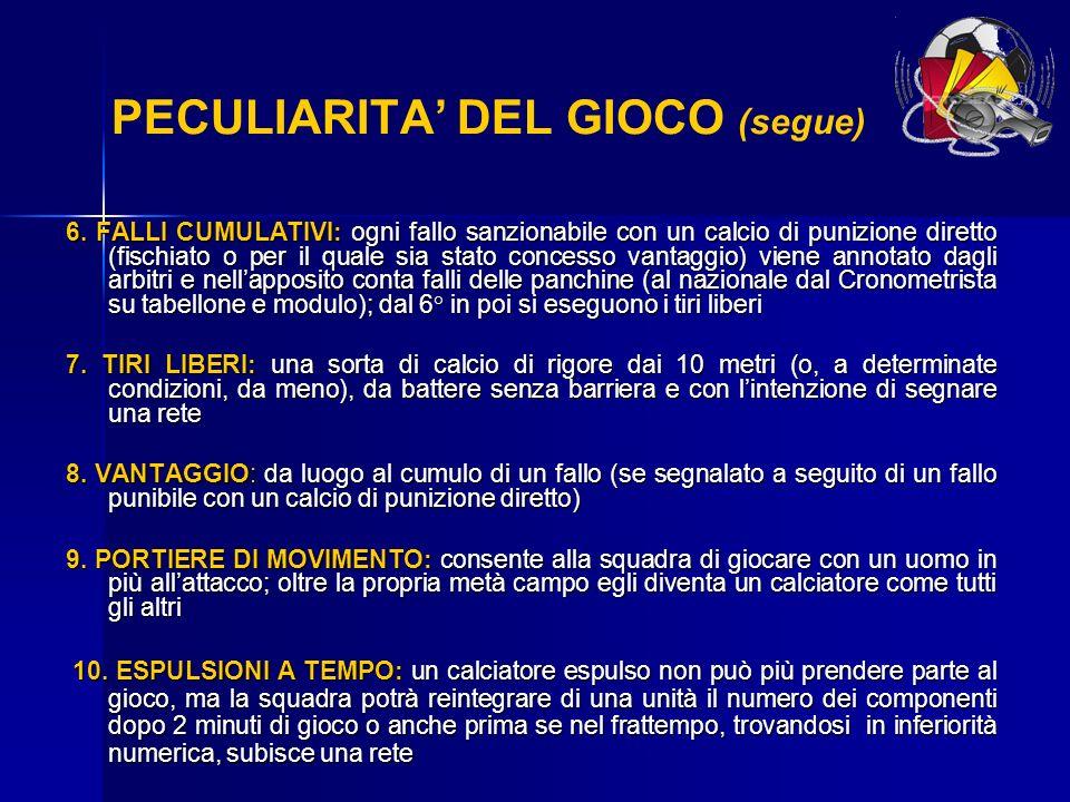 PECULIARITA' DEL GIOCO (segue)