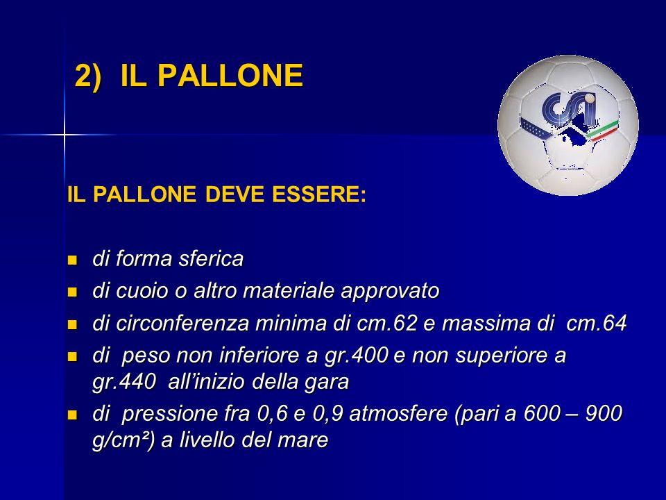 2) IL PALLONE IL PALLONE DEVE ESSERE: di forma sferica