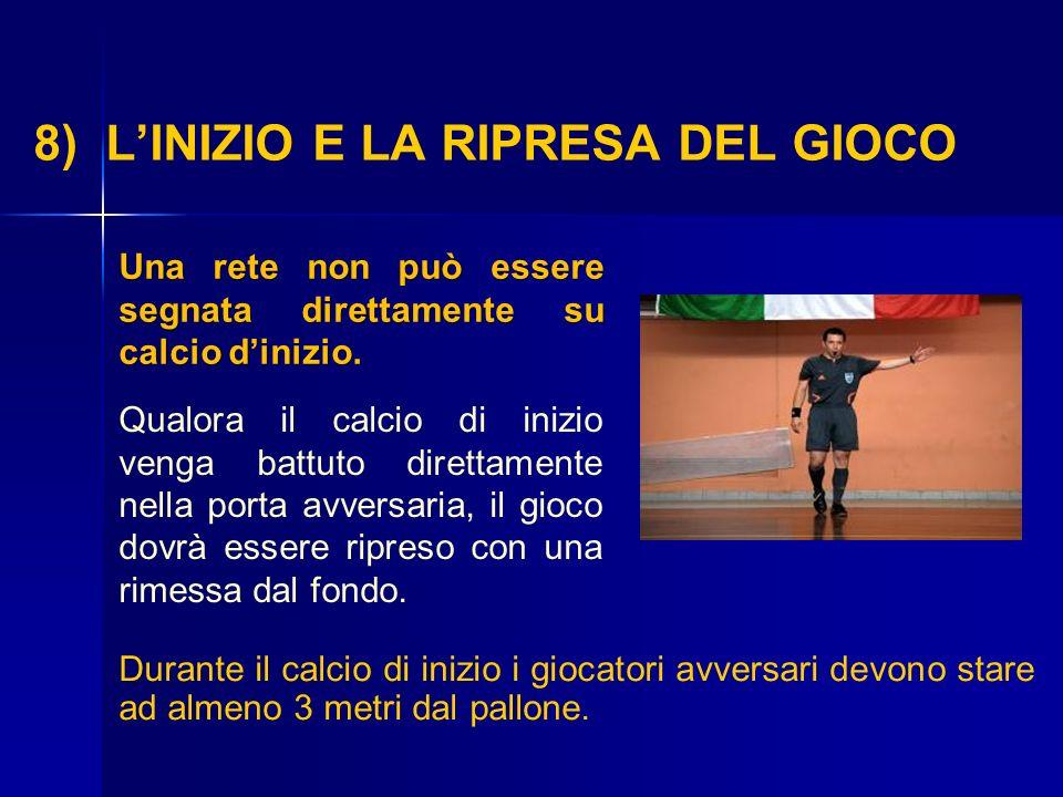 8) L'INIZIO E LA RIPRESA DEL GIOCO