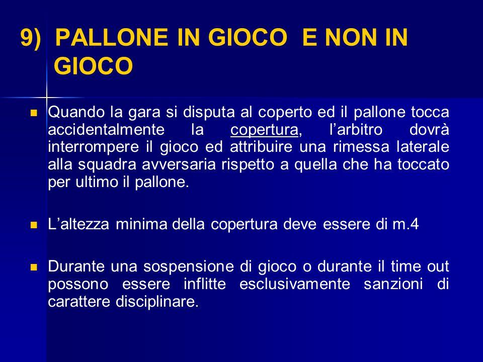 9) PALLONE IN GIOCO E NON IN GIOCO