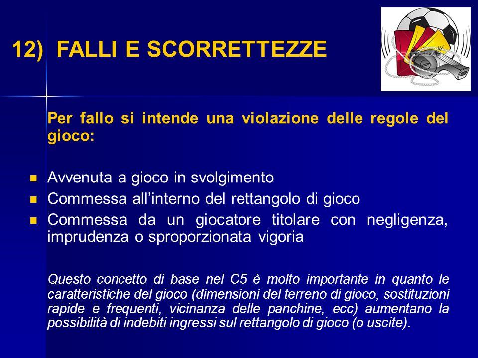 12) FALLI E SCORRETTEZZE Per fallo si intende una violazione delle regole del gioco: Avvenuta a gioco in svolgimento.
