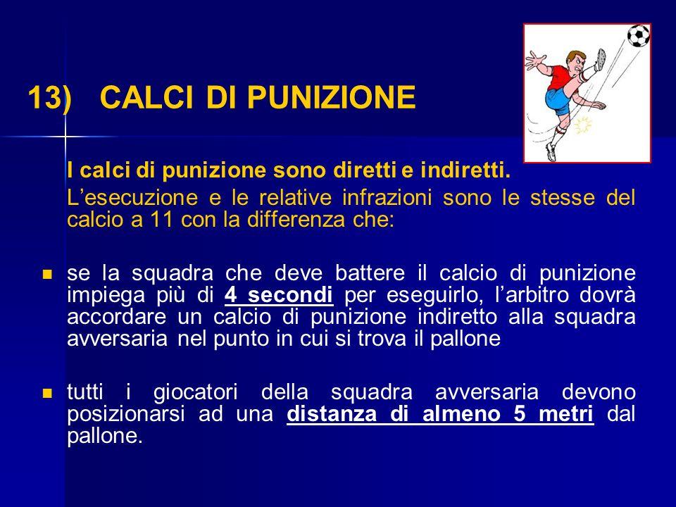 13) CALCI DI PUNIZIONE I calci di punizione sono diretti e indiretti.