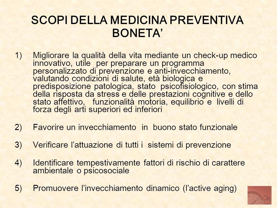 SCOPI DELLA MEDICINA PREVENTIVA BONETA'