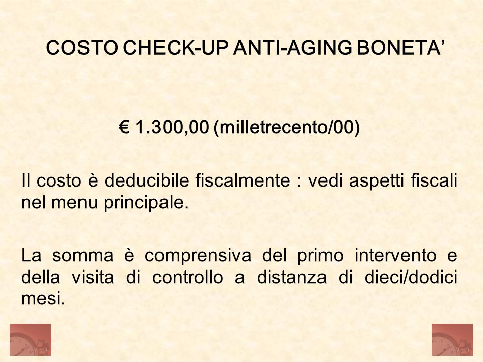 COSTO CHECK-UP ANTI-AGING BONETA'