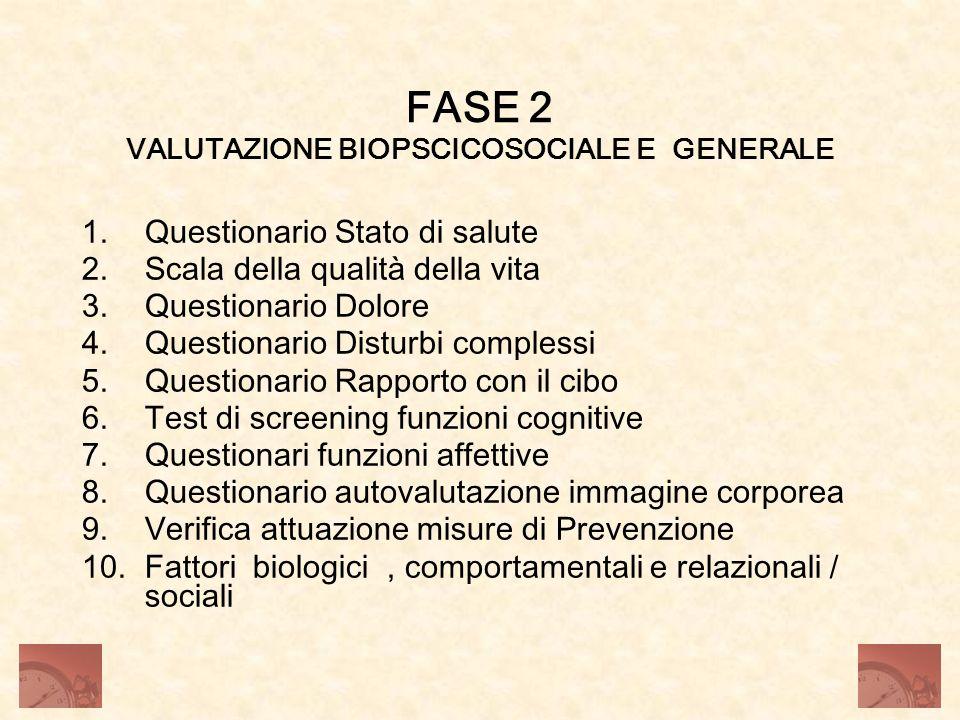 FASE 2 VALUTAZIONE BIOPSCICOSOCIALE E GENERALE