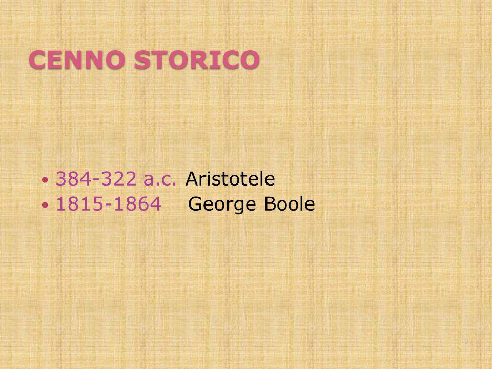 CENNO STORICO 384-322 a.c. Aristotele 1815-1864 George Boole