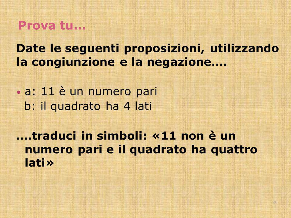Prova tu… Date le seguenti proposizioni, utilizzando la congiunzione e la negazione…. a: 11 è un numero pari.