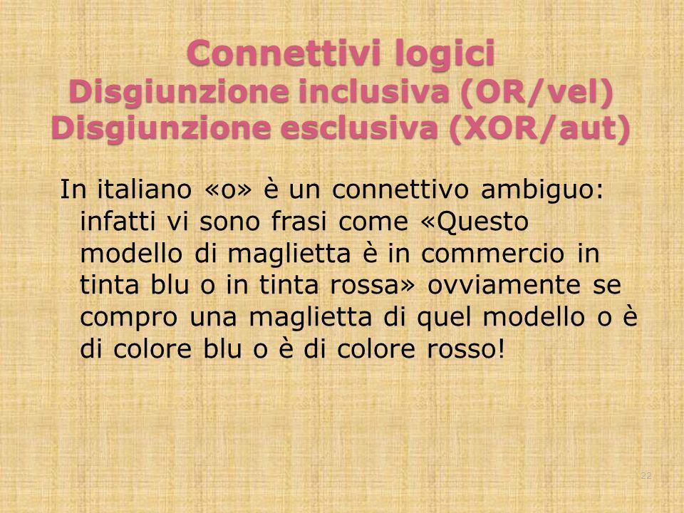 Connettivi logici Disgiunzione inclusiva (OR/vel) Disgiunzione esclusiva (XOR/aut)