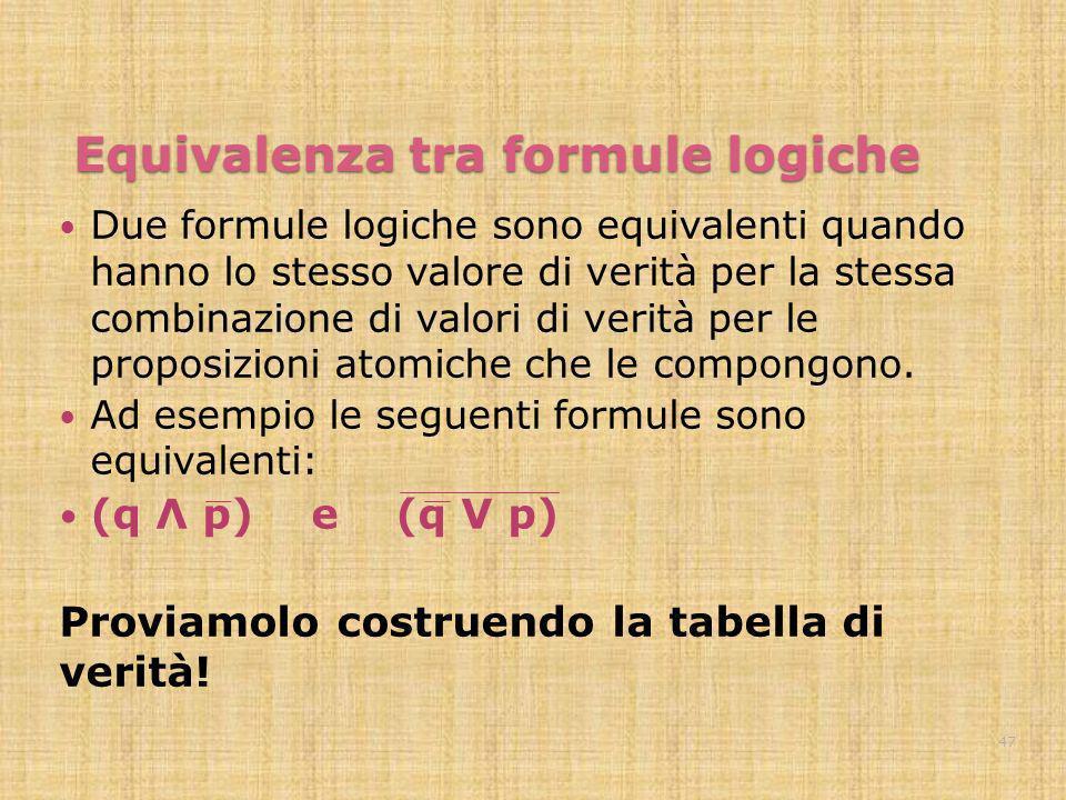 Equivalenza tra formule logiche