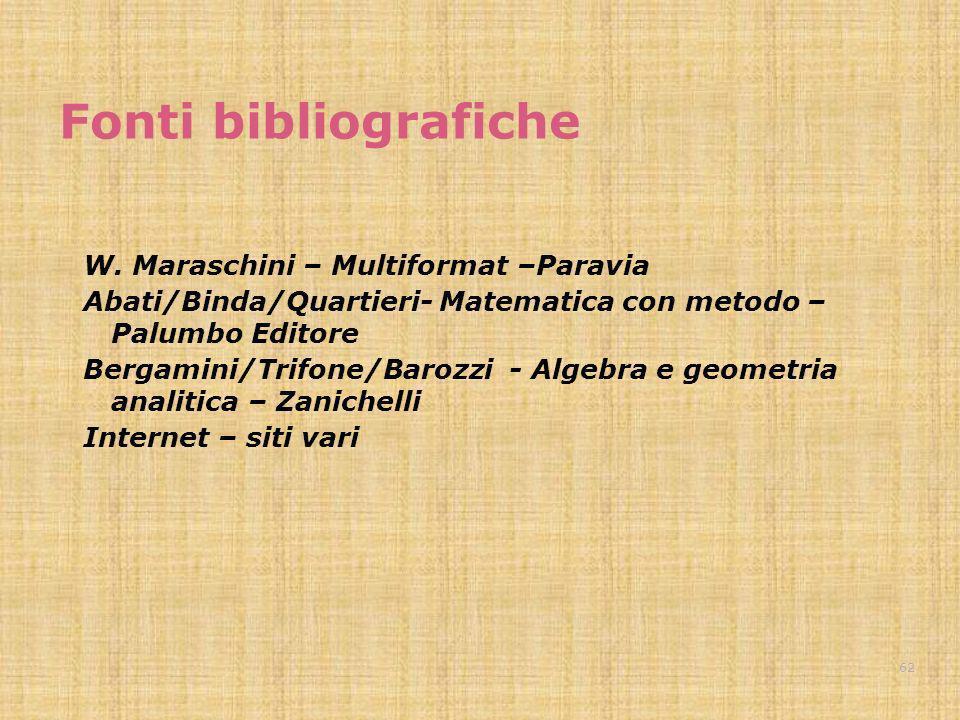 Fonti bibliografiche W. Maraschini – Multiformat –Paravia