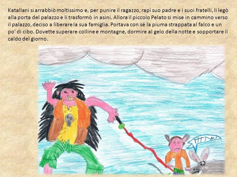 Katallani si arrabbiò moltissimo e, per punire il ragazzo, rapì suo padre e i suoi fratelli, li legò alla porta del palazzo e li trasformò in asini.