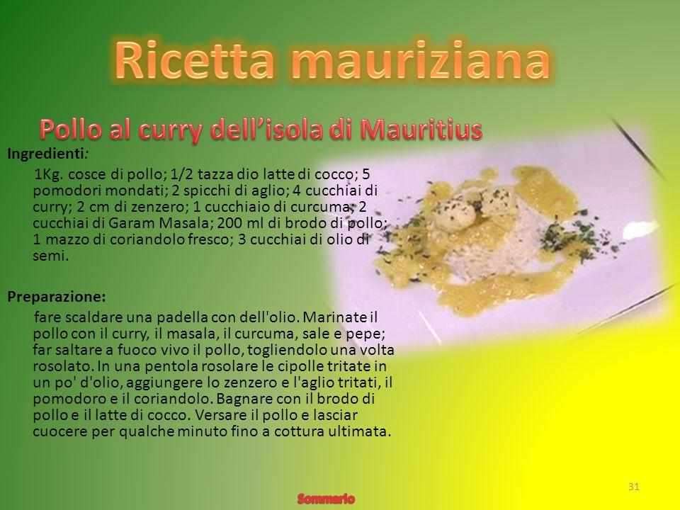 Ricetta mauriziana Pollo al curry dell'isola di Mauritius