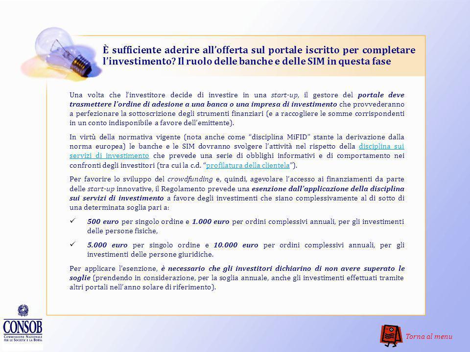 È sufficiente aderire all'offerta sul portale iscritto per completare l'investimento Il ruolo delle banche e delle SIM in questa fase