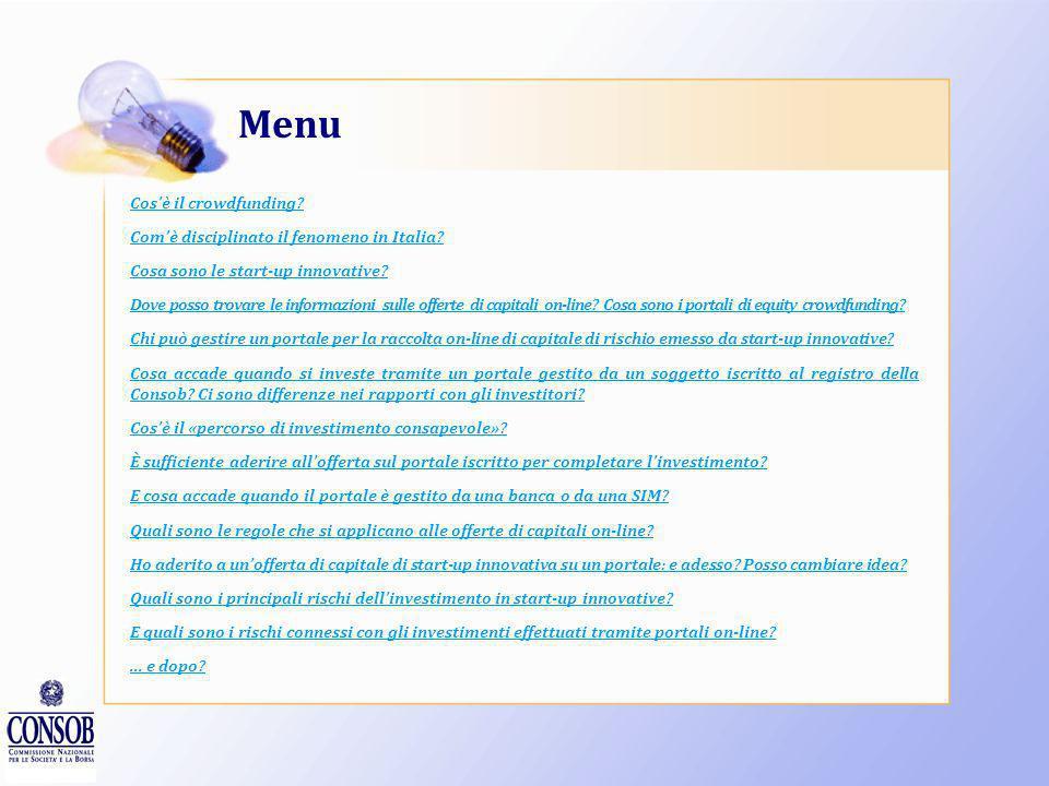 Menu Cos'è il crowdfunding Com'è disciplinato il fenomeno in Italia