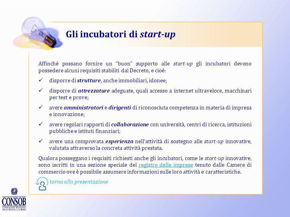 Gli incubatori di start-up