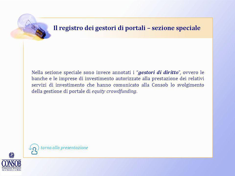 Il registro dei gestori di portali – sezione speciale