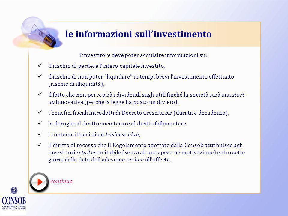 le informazioni sull'investimento
