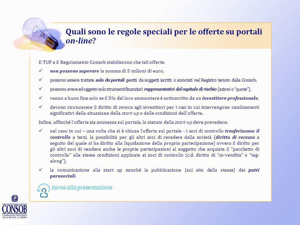 Quali sono le regole speciali per le offerte su portali on-line