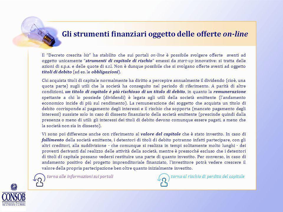 Gli strumenti finanziari oggetto delle offerte on-line