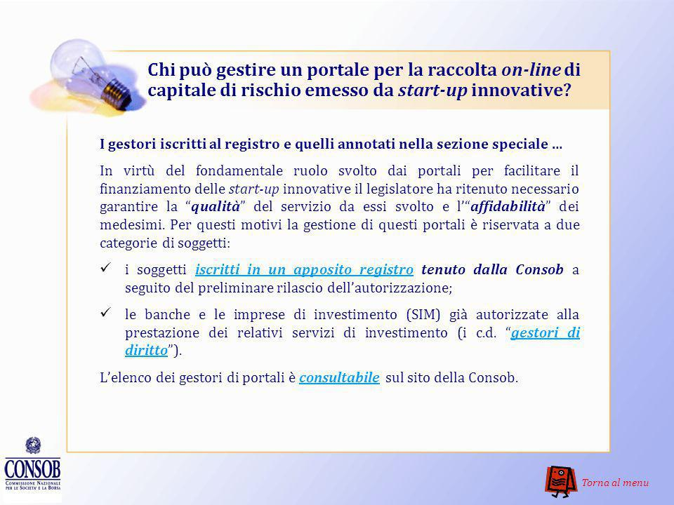 Chi può gestire un portale per la raccolta on-line di capitale di rischio emesso da start-up innovative