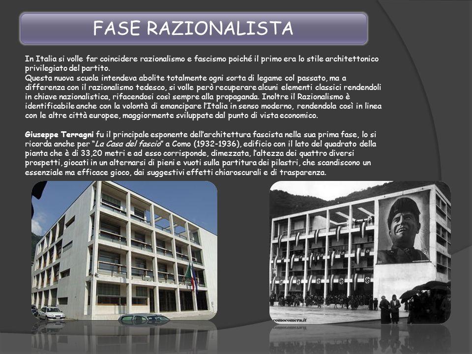 FASE RAZIONALISTA In Italia si volle far coincidere razionalismo e fascismo poiché il primo era lo stile architettonico privilegiato del partito.