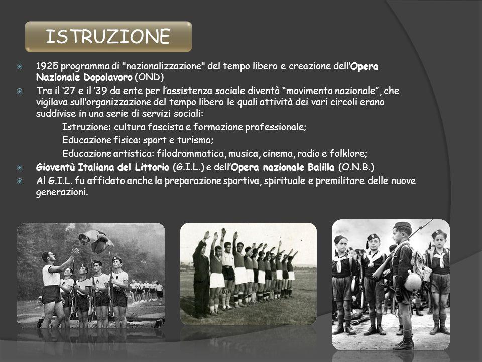 ISTRUZIONE 1925 programma di nazionalizzazione del tempo libero e creazione dell'Opera Nazionale Dopolavoro (OND)