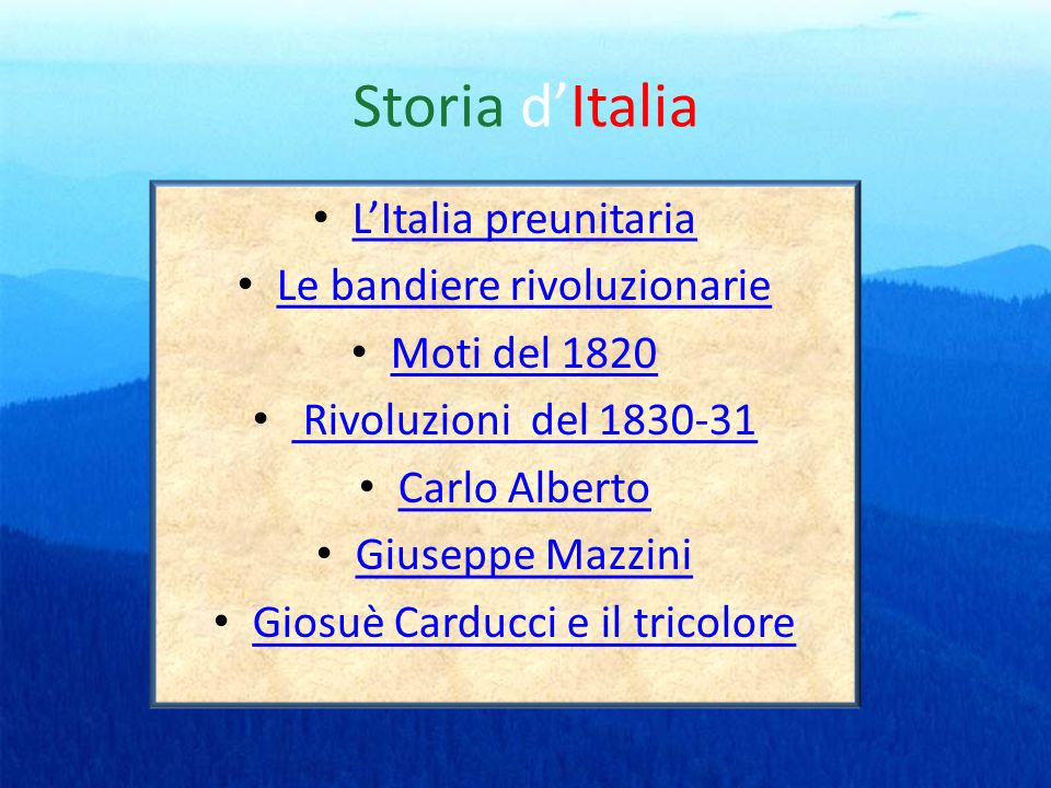 Storia d'Italia L'Italia preunitaria Le bandiere rivoluzionarie
